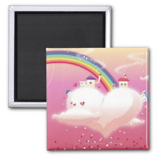 Rainbow and buildings on clouds square magnet