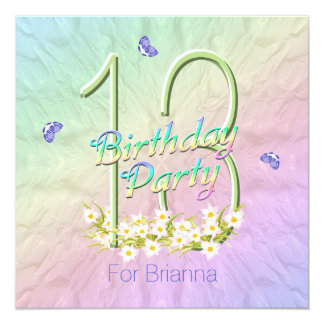 Rainbow and Butterflies 13th Birthday Party 13 Cm X 13 Cm Square Invitation Card