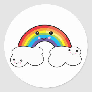 rainbow and cloud pals classic round sticker