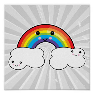 rainbow and cloud pals poster