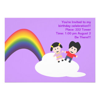 Rainbow and Clouds Friendship  Birthday Invitation