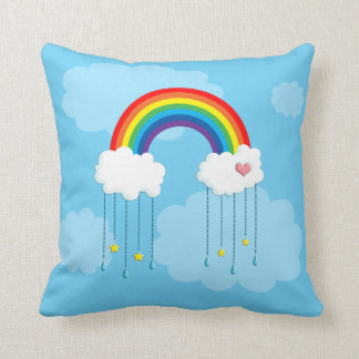 Rainbow and clouds raining stars cushion