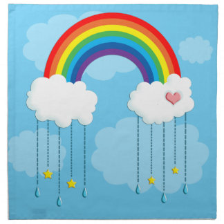 Rainbow and clouds raining stars napkin