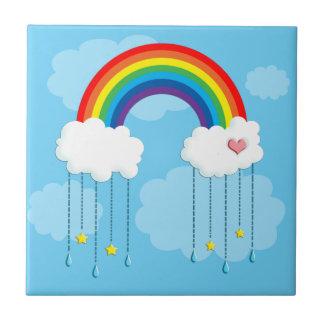 Rainbow and clouds raining stars tile