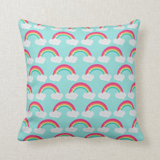 Rainbow and Clouds Throw Pillow