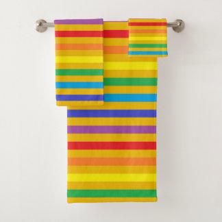 Rainbow and Gold Stripes Bath Towel Set