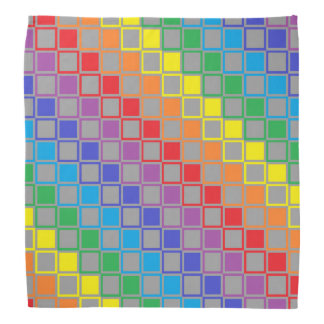 Rainbow and Gray Outlined Squares Bandana