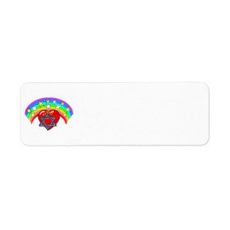 Rainbow and Jewish Stars Return Address Label