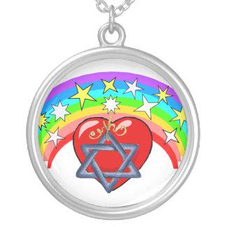 Rainbow and Jewish Stars Round Pendant Necklace