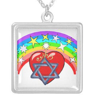 Rainbow and Jewish Stars Square Pendant Necklace