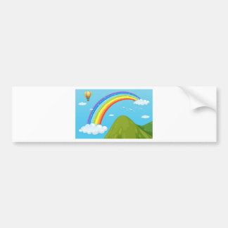 Rainbow and mountain bumper sticker
