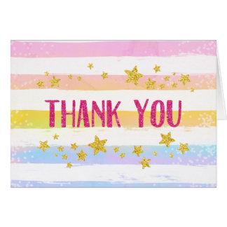 Rainbow and Stars Thank You Card Glitter Confetti