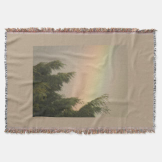 Rainbow and Trees Throw Blanket