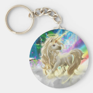 Rainbow And Unicorn Basic Round Button Key Ring