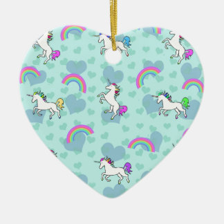 Rainbow and Unicorn Psychedelic Blue Design Christmas Ornament