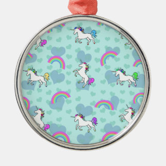 Rainbow and Unicorn Psychedelic Blue Design Silver-Colored Round Decoration
