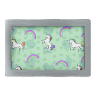 Rainbow and Unicorn Psychedelic Green Design Belt Buckle