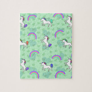 Rainbow and Unicorn Psychedelic Green Design Jigsaw Puzzle