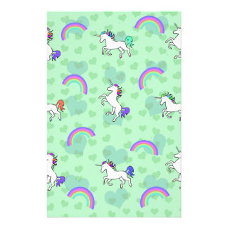 Rainbow and Unicorn Psychedelic Green Design Personalised Stationery