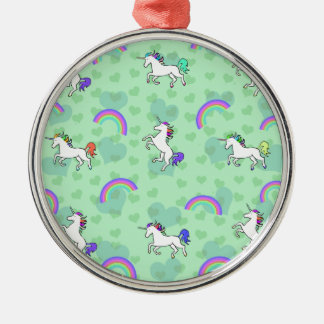 Rainbow and Unicorn Psychedelic Green Design Silver-Colored Round Decoration
