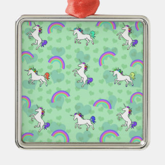 Rainbow and Unicorn Psychedelic Green Design Silver-Colored Square Decoration