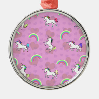 Rainbow and Unicorn Psychedelic Pink Design Christmas Ornament