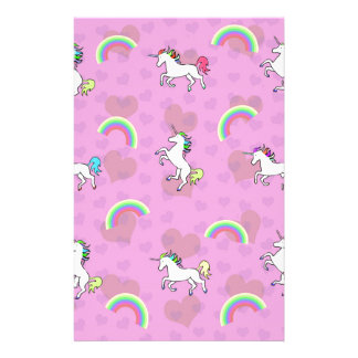 Rainbow and Unicorn Psychedelic Pink Design Customized Stationery
