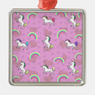 Rainbow and Unicorn Psychedelic Pink Design Silver-Colored Square Decoration
