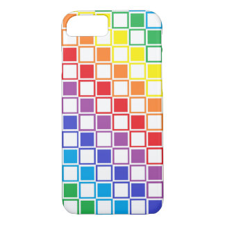 Rainbow and White Outlined Squares iPhone 8/7 Case