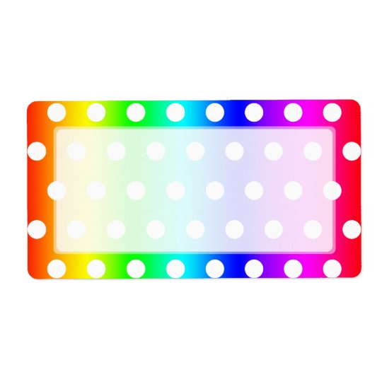 Rainbow and White Polka Dots Shipping Label