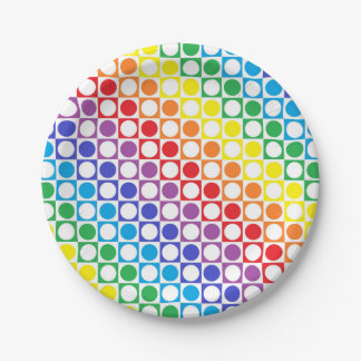 Rainbow and White Squares and Polka Dots Paper Plate