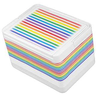 Rainbow and White Stripes Igloo Cooler