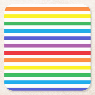 Rainbow and White Stripes Square Paper Coaster