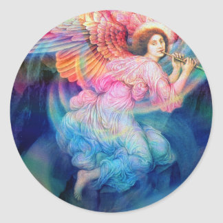 Rainbow Angel Classic Round Sticker