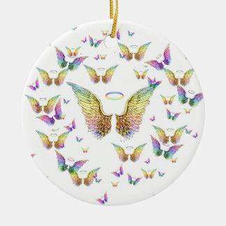 Rainbow Angel Wings and Halos Christmas Ornament