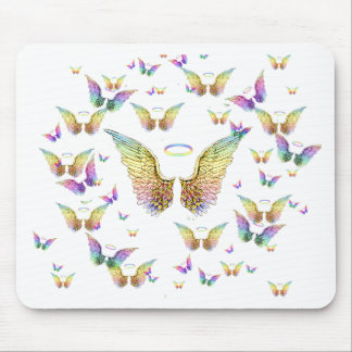 Rainbow Angel Wings and Halos Mouse Mat