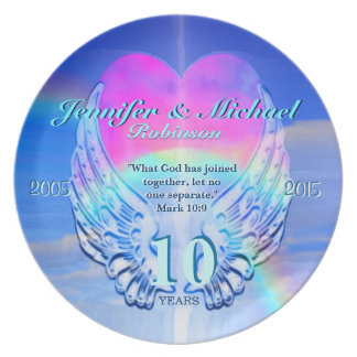 Rainbow Angel Wings and Heart Plate