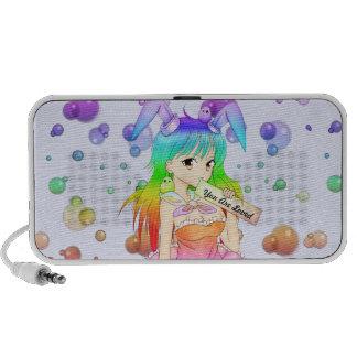 Rainbow Anime Bunny Girl iPod Speaker