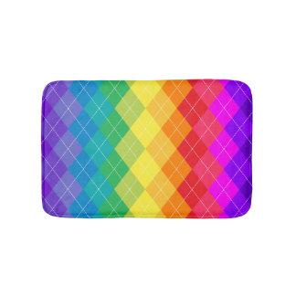 Rainbow Argyle Pattern Bath Mat