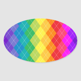Rainbow Argyle Pattern Oval Sticker
