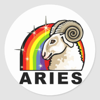 Rainbow Aries Classic Round Sticker