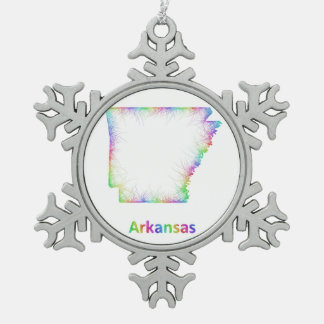 Rainbow Arkansas map Pewter Snowflake Decoration