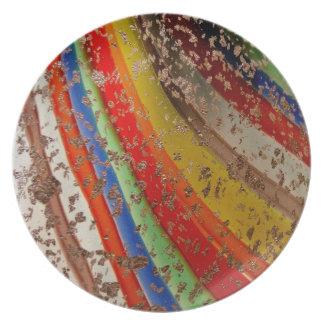 Rainbow Art Glass Party Plate