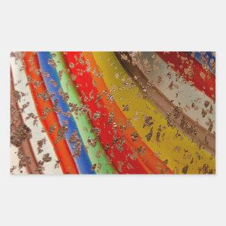 Rainbow Art Glass Rectangular Sticker