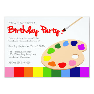 "Rainbow Artist Palette Painting Birthday Party 5"" X 7"" Invitation Card"