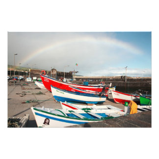 Rainbow at the harbour photo print