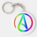 Rainbow Atheist Basic Round Button Key Ring