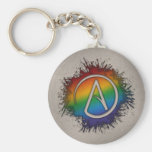 Rainbow Atheist Symbol Basic Round Button Key Ring