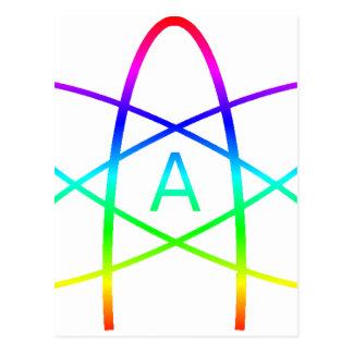 Rainbow Atheist Symbol Postcard
