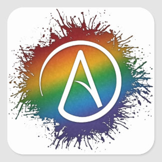 Rainbow Atheist Symbol Square Sticker
